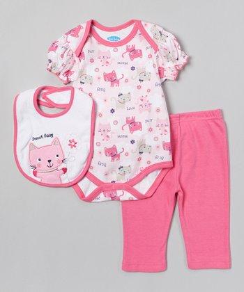 Pink 'Sweet Baby' Kitten Bodysuit Set - Infant