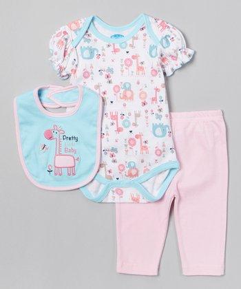 Blue 'Pretty Baby' Giraffe Bodysuit Set - Infant
