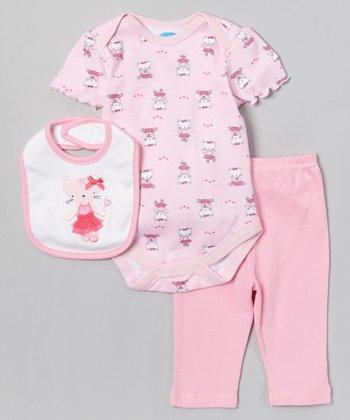 Pink & White Kitten Bodysuit Set - Infant