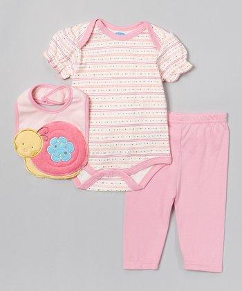 Pink & Yellow Snail Bodysuit Set - Infant