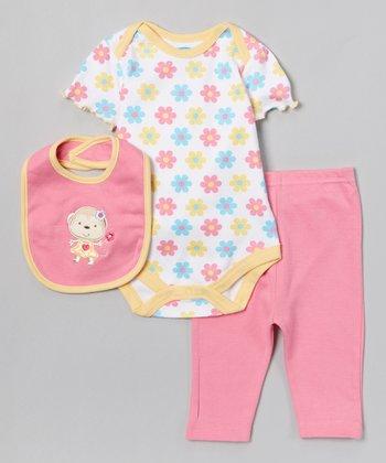 Pink & Yellow Monkey Bodysuit Set - Infant