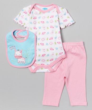 Pink & Blue 'Hugs and Kisses' Bodysuit Set - Infant