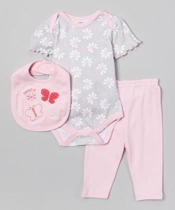Gray & Pink 'Sweetie' Butterfly Bodysuit Set - Infant