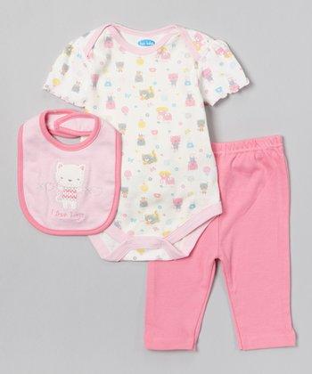 Pink Heart Kitten Bodysuit Set - Infant