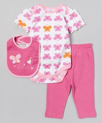 Pink & Orange Butterfly Bodysuit Set - Infant