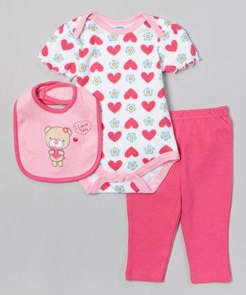 Pink 'I Love You' Bear Heart Bodysuit Set - Infant