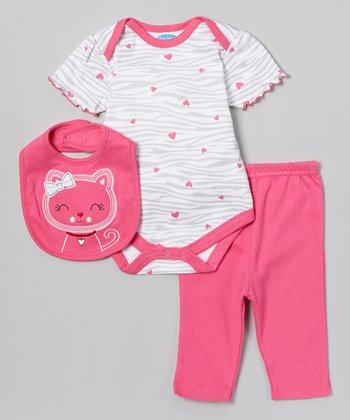 Pink Zebra Kitten Bodysuit Set - Infant