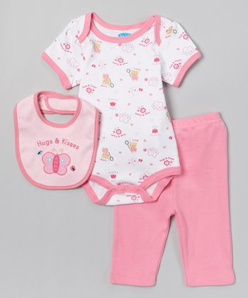 Pink 'Hugs and Kisses' Butterfly Bodysuit Set - Infant