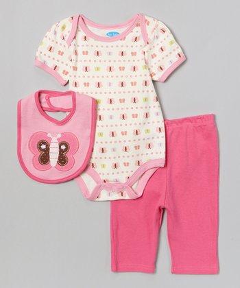 Pink & White Butterfly Bodysuit Set - Infant