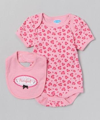 Pink Leopard 'Purrfect' Bodysuit & Bib - Infant
