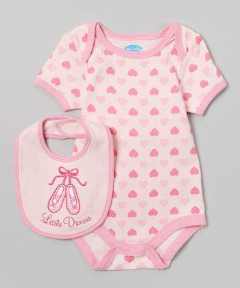 Pink 'Little Dancer' Heart Bodysuit & Bib - Infant