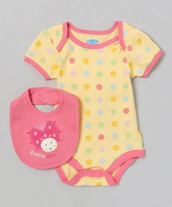 Pink & Yellow 'Pretty Girl' Bodysuit & Bib - Infant