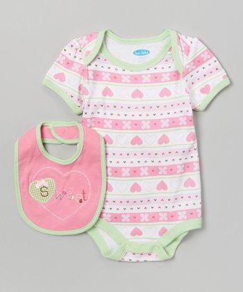 Pink & Green 'Sweet' Heart Bodysuit & Bib - Infant