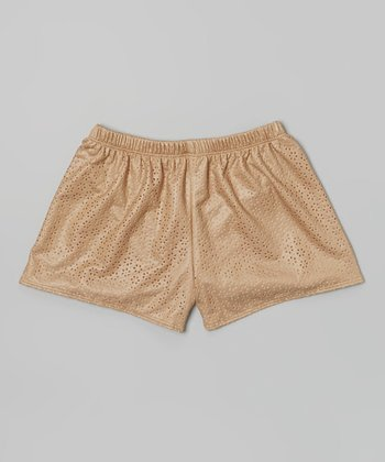 Tan Faux Leather Eyelet Shorts