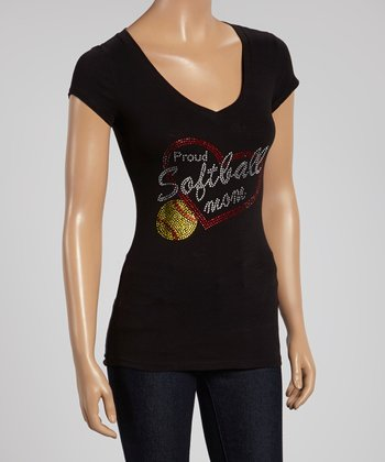 Black 'Proud Softball Mom' V-Neck Tee - Women & Plus