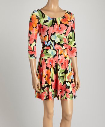 Coral Floral Watercolor Skater Dress