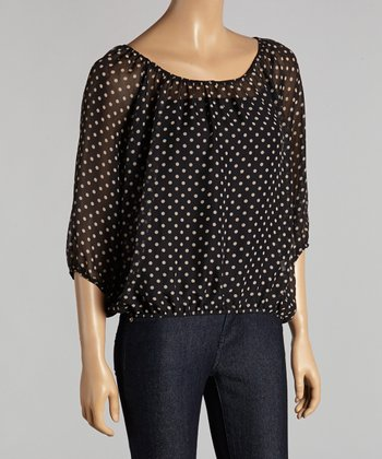 Beige Polka Dot Ruched Top