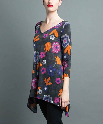 Purple & Charcoal Floral Sidetail Top - Women & Plus