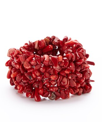 Red Coral Confetti Stretch Bracelet