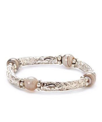 Gray Agate & Silver Filigree Stretch Bracelet