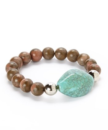 Turquoise & Brown Oblong Stone Stretch Bracelet