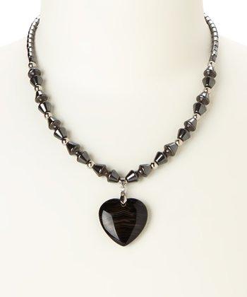 Black Hematite Heart Pendant Necklace