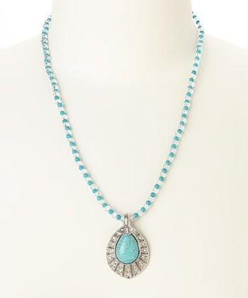 Turquoise & Silver Teardrop Pendant Necklace