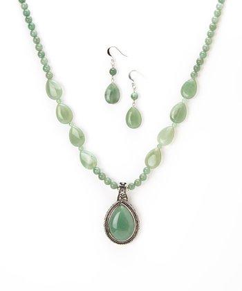 Green Aventurine Teardrop Pendant Necklace & Earrings