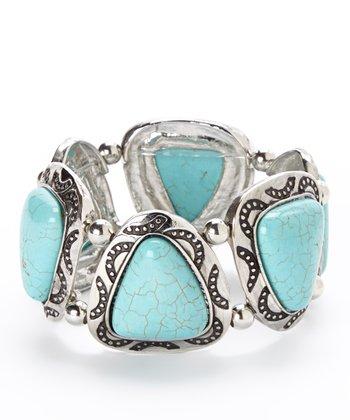 Turquoise & Silver Triangle Stone Stretch Bracelet