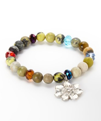 Turquoise & Tan Flower Charm Stretch Bracelet
