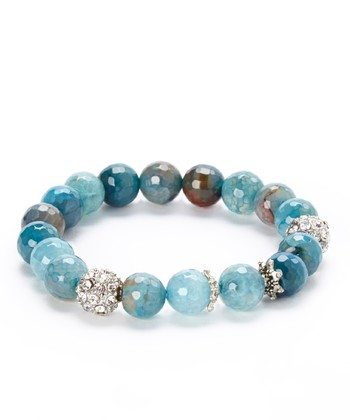 Turquoise & Sparkles Faceted Ball Stretch Bracelet