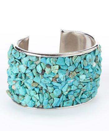 Turquoise & Silver Stone Confetti Cuff