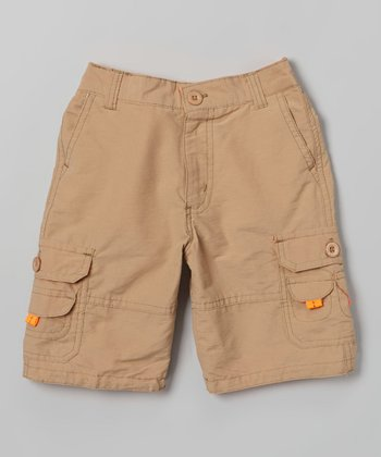 Khaki Contrast Stitch Cargo Shorts - Toddler & Boys
