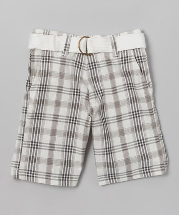 White Plaid Belted Bermuda Shorts - Toddler & Boys