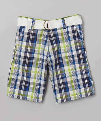 Blue & Green Plaid Belted Bermuda Shorts - Toddler & Boys