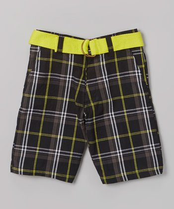 Lime Plaid Belted Bermuda Shorts - Toddler & Boys
