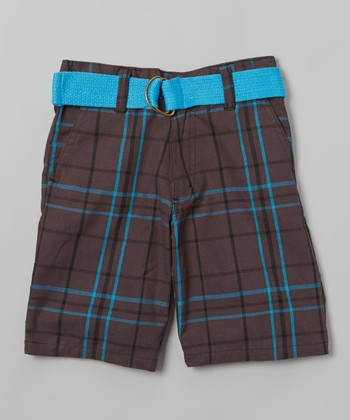 Turquoise & Gray Plaid Belted Bermuda Shorts - Toddler & Boys