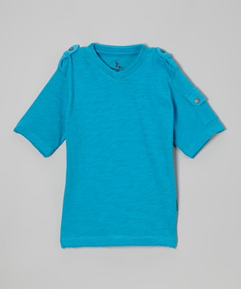 Turquoise Pocket Sleeve Tee - Boys