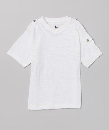 White Pocket Sleeve Tee - Boys