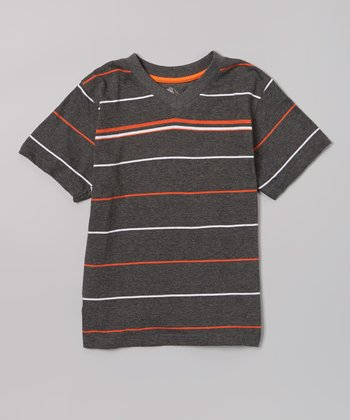 Charcoal & Orange Stripe Tee - Toddler & Boys