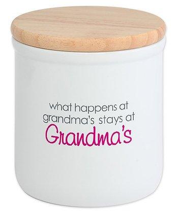 White 'What Happens at Grandma's' Ceramic Cookie Jar