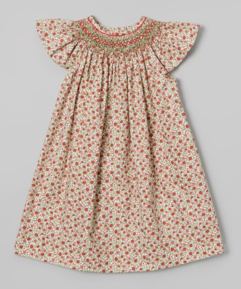 Red & Green Mistletoe Bishop Dress - Infant, Toddler & Girls