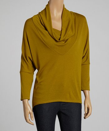 Gold Cowl Neck Dolman Top