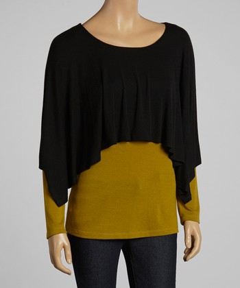 Gold & Black Color Block Layered Top