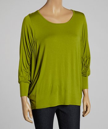Kiwi Ruched-Sleeve Dolman Top