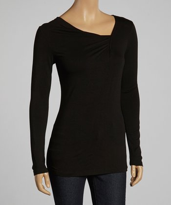 Black Gathered Long-Sleeve Top