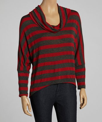 Brick & Gray Stripe Cowl Neck Top
