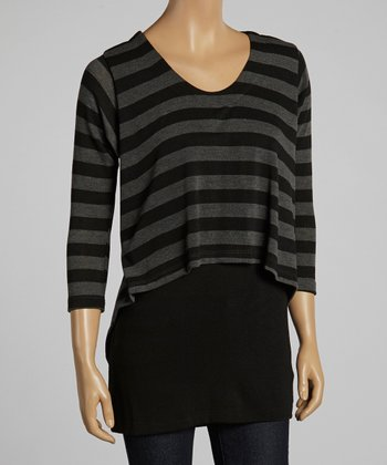 Black & Gray Stripe Hi-Low Layered Top