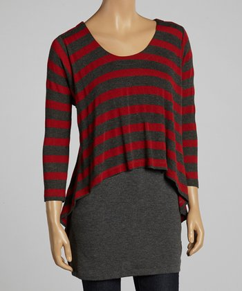 Brick & Gray Stripe Hi-Low Layered Top