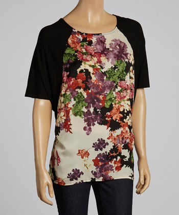 Black & Red Floral Cape-Sleeve Top